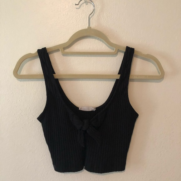 Lush Tops - Lush black crop top with tie in front size S